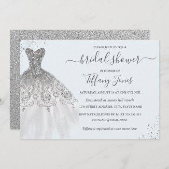 silver glitter wedding dress blue bridal shower invitation