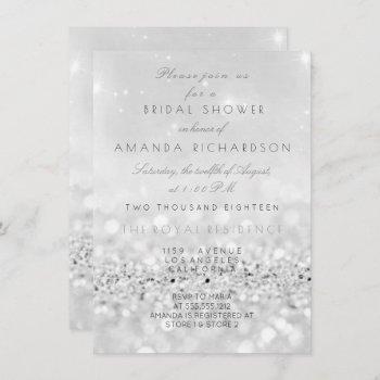 silver gray white glitter bridal shower invitation
