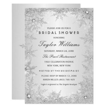 silver jewel snowflake bridal shower invitation