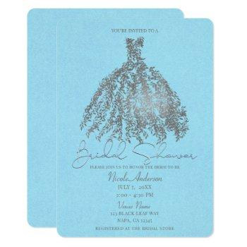 silver & light blue botanical dress bridal shower invitation