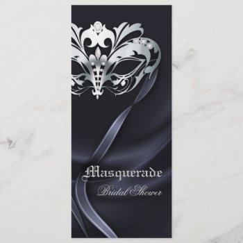 silver masquerade black bridal shower invitation