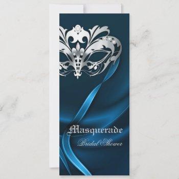 silver masquerade blue  bridal shower invitation