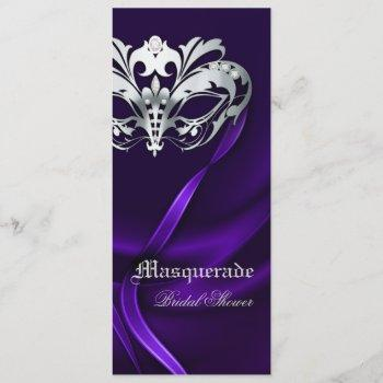 silver masquerade purple bridal shower invitation