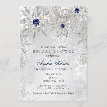 silver navy snowflakes winter bridal shower invite