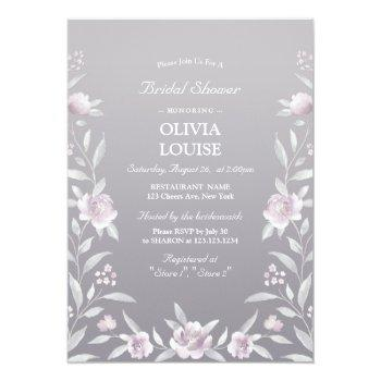 silver pink floral chinoiserie bridal shower invitation