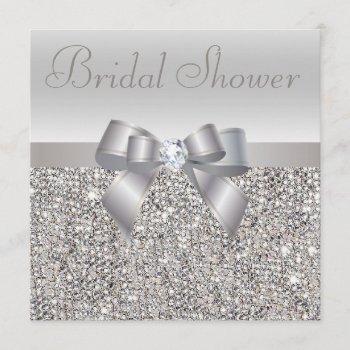 silver printed sequins bow & diamond bridal shower invitation