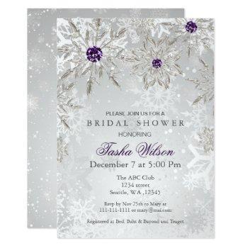 silver purple winter bridal shower invite