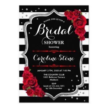 silver red black white stripes bridal shower invitation