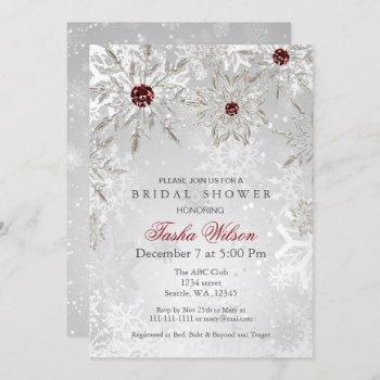 silver red crystal snowflakes winter bridal shower invitation