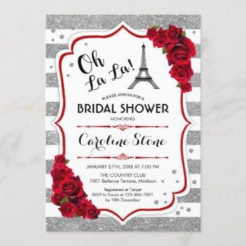 silver red roses french style bridal shower invitation