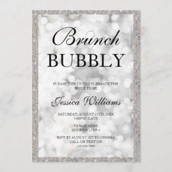 silver sequins brunch & bubbly bridal shower invitation