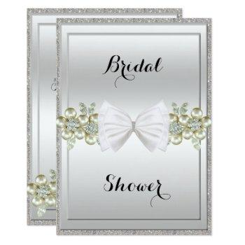 silver sequins & floral gems glitter bow bridal invitation
