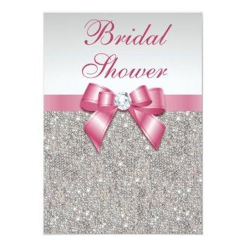 silver sequins pink bows diamonds bridal shower invitation