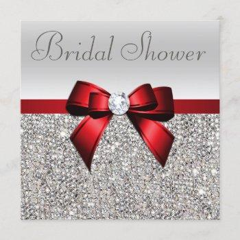 silver sequins red bow diamond bridal shower invitation