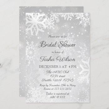silver snowflakes winter bridal shower invitation