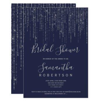 silver string lights navy blue bridal shower invitation