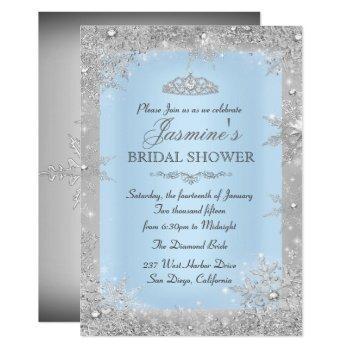 silver winter wonderland blue bridal shower invitation