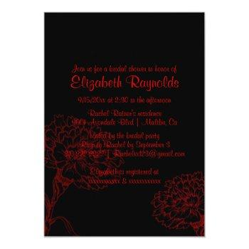 simple black & red bridal shower invitations