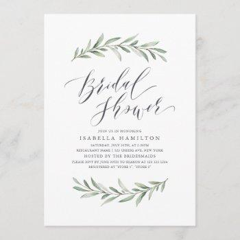 simple calligraphy rustic greenery bridal shower invitation