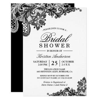 simple classy chic black white lace bridal shower invitation