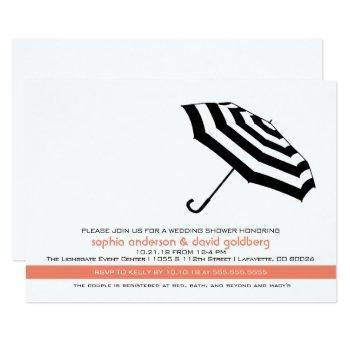 simple coral umbrella bridal shower invitation