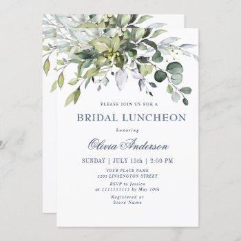 simple elegant eucalyptus bridal luncheon invitation