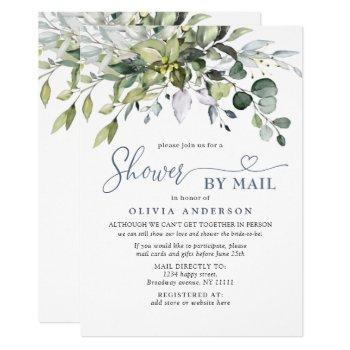 simple elegant eucalyptus bridal shower by mail invitation