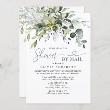 simple elegant eucalyptus bridal shower by mail invitation