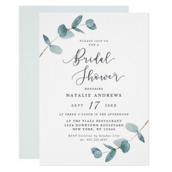 simple elegant eucalyptus frame bridal shower invitation