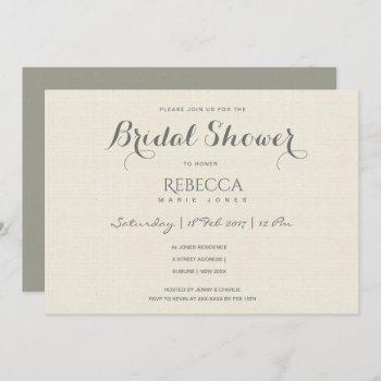 simple elegant grey typography bridal shower invitation