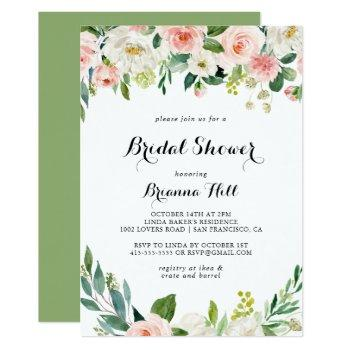 simple floral green foliage bridal shower invitation