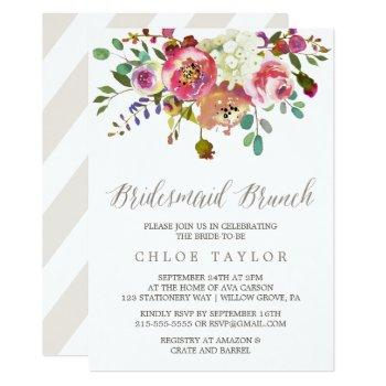 simple floral watercolor bouquet bridesmaid brunch invitation