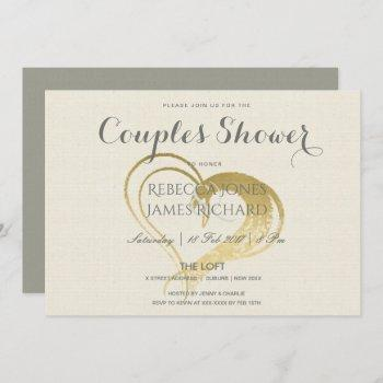 simple gold heart typography couples shower invitation