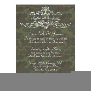 simple luxury camo wedding invitations