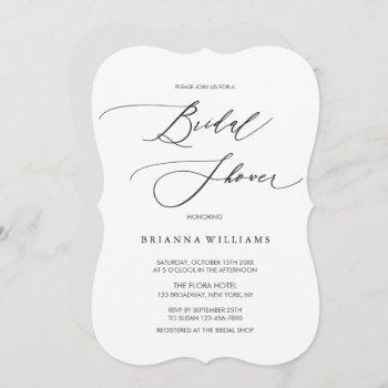 simple modern black white bridal shower invitation