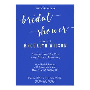 simple royal blue white bridal shower invitations