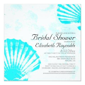 simple seashells destination bridal shower invite