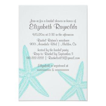 simple starfish bridal shower invitations