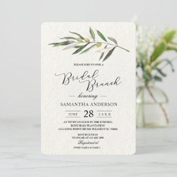 simple watercolor olive green branch invitation