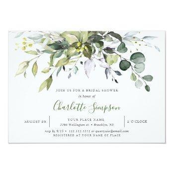 Simply Elegant Eucalyptus Bridal Shower Invitation Front View
