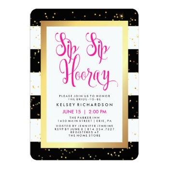 sip sip hooray black white and gold bridal shower invitation