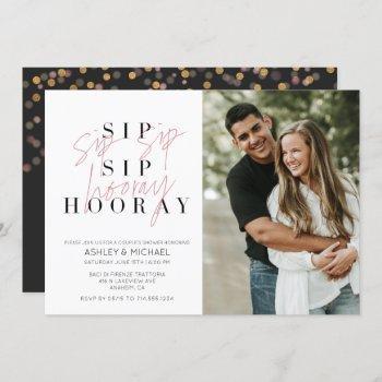 sip sip hooray black white photo couple's shower invitation