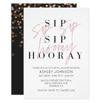 sip sip hooray modern black white bridal shower invitation