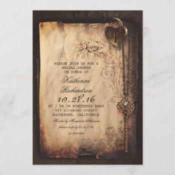 skeleton key heart lock bridal shower invites