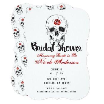 skeleton skull bones black red rose bridal shower invitation