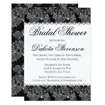 skull rose | funky chalkboard grunge bridal shower invitation