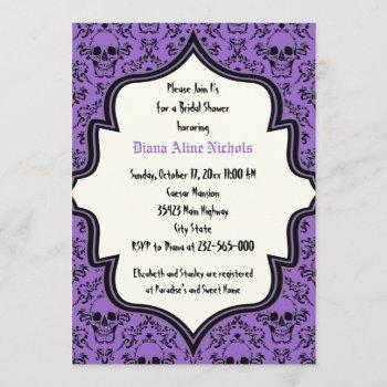 skulls damask halloween wedding bridal shower invitation