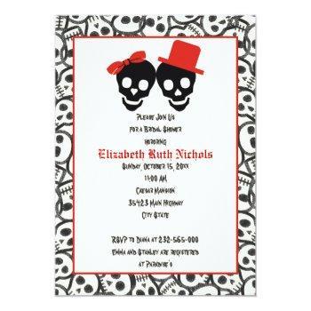 skulls halloween red black wedding bridal shower invitation