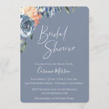 slate blue peach botanical bridal shower invitation