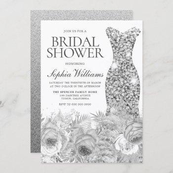 sliver gray sparkle dress & floral bridal shower invitation
